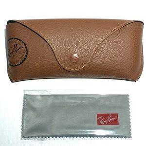 RAY BAN Tan Brown Sunglass Case & Cloth